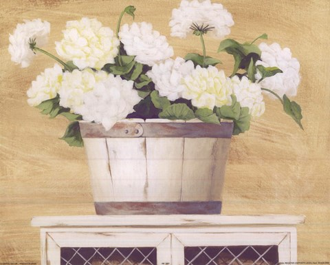 Framed White Flowers In Wooden Bucket Print