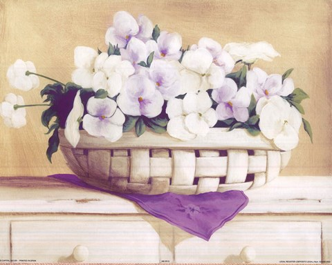 Framed White Purple Flowers In Basket Print