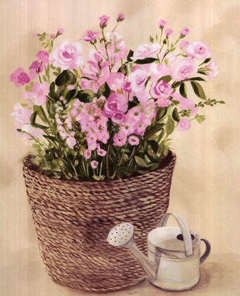 Framed Pink Flowers In Basket With Watering Can Print