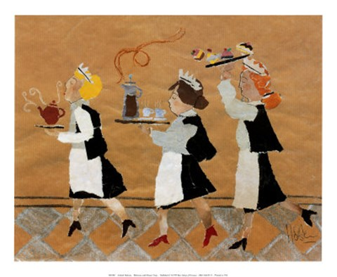 Framed Waitresses with Dessert Trays Print