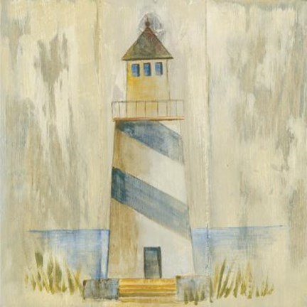 Framed Blue Striped Lighthouse Print