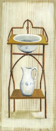 Framed Wash Stand With Basin Pitcher Print
