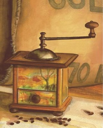 Framed Coffee Grinder With Scenery Print