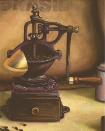 Framed Metal Coffee Grinder Print