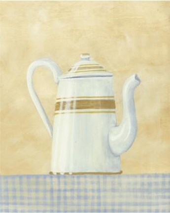 Framed White Brown Teapot Print