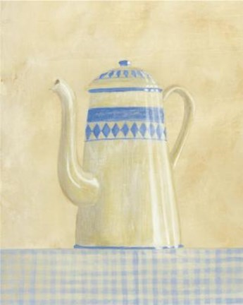 Framed White With Blue Diamonds Teapot Print