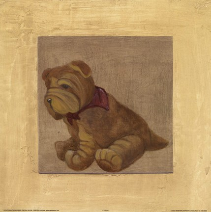 Framed Brown Dog With Red Scar Print
