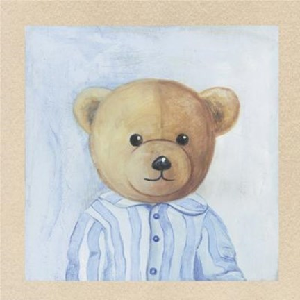 Framed Bear With Blue Striped Shirt Print