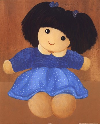 Framed Doll With Black Hair Pigtails Print