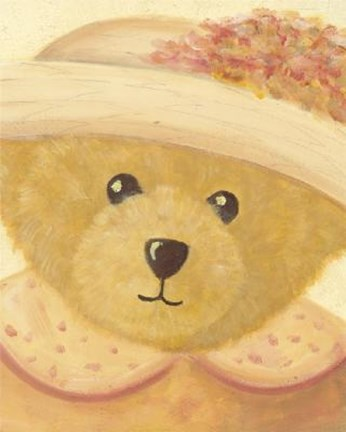 Framed Bear With Peach Dress Hat Print