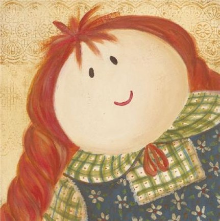 Framed Doll With Red Hair Braids Print