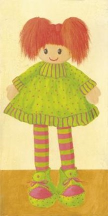 Framed Doll With Green Dress Print