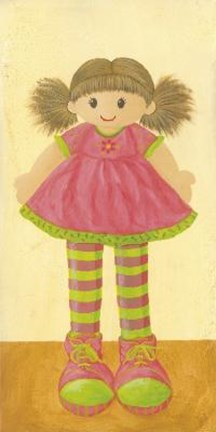 Framed Doll With Pink Dress Print