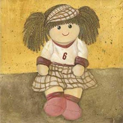 Framed Doll With Brown Hair Pigtails Print