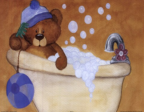 Framed Bear With Blue Hat In Bathtub Print