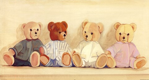 Framed Four Bears sitting Print