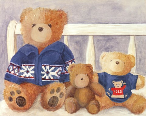 Framed Bears With Blue Sweaters Print