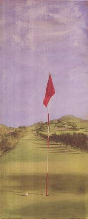 Framed Golf Course With Red Flag Print