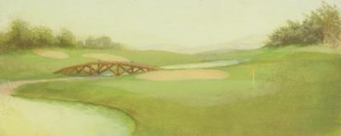 Framed Golf Course With Bridge Print