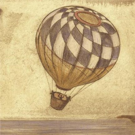 Framed Checked Hot Air Balloon Print