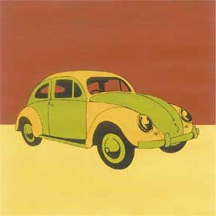Framed Green Yellow Volkswagon Bug Print
