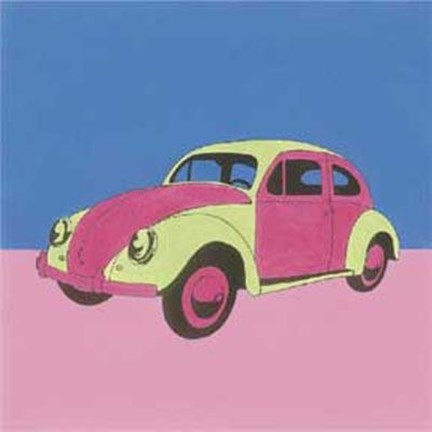 Framed Pink Green Volkswagon Bug Print
