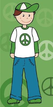 Framed Boy With Peace Sign On Shirt Print