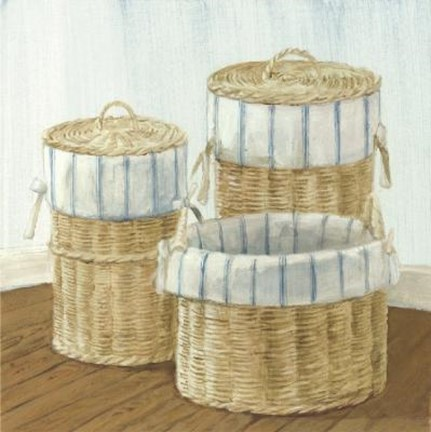 Framed Baskets With Blue Striped Cloth Print