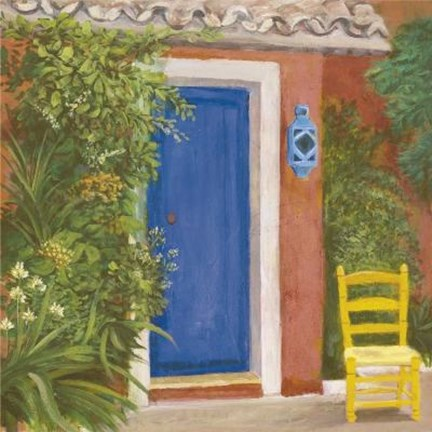 Framed Blue Door Yellow Chair Print