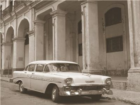 Framed Car In Front Of Pillared Building Print