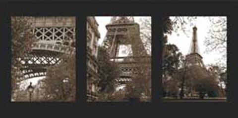 Framed Eiffel Tower Triptych Print