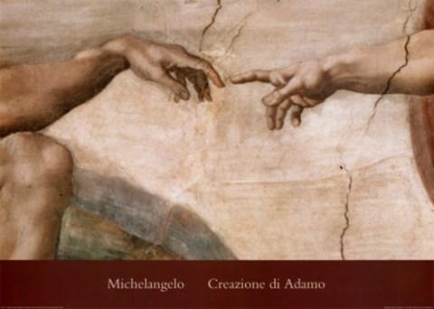 Creazione Di Adamo Detail Fine Art Print By Michelangelo