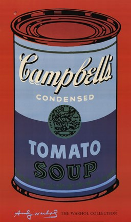 Framed Campbell's Soup Can, 1965 (blue & purple) Print