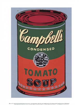 Framed Campbell's Soup Can, 1965 (green & red) Print