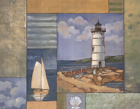 Framed Lighthouse Collage II Print