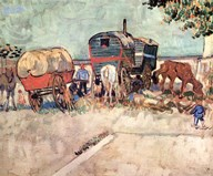 Encampment of Gypsies with Caravans, near Arles, c.1888  Fine Art Print