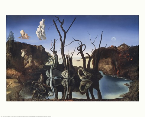 Swans Reflecting Elephants C 1937 Fine Art Print By