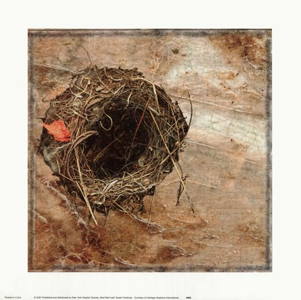 Framed Nest Red Leaf Print