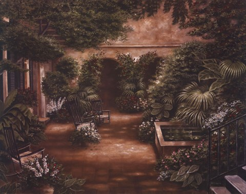 Framed Courtyard in New Orleans II Print