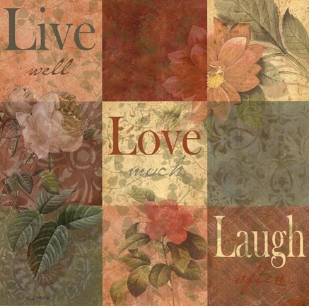 Framed Shabby Chic 9 patchLive Laugh Love Print