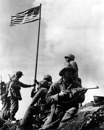 Framed American Soldiers raise the first US flag at  Iwo Jima 1945 Print