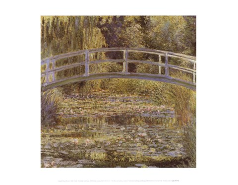 Framed Water Lily Pond and Bridge Print