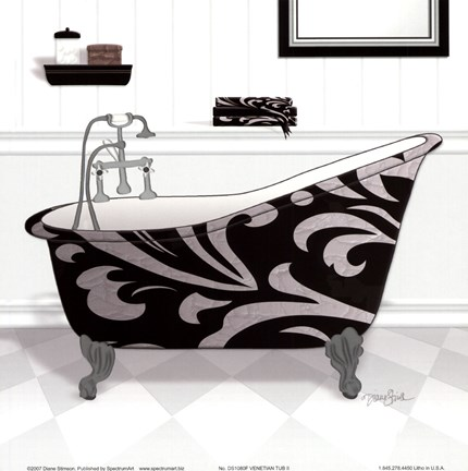 Framed Damask Tub II Print