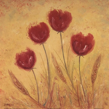 Framed Red Tulips and Wheat Print