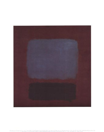 Framed No. 37/No. 19 (Slate Blue and Brown on Plum), 1958 Print