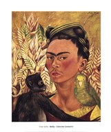 Self-Portrait with Monkey and Parrot, 1942  Fine Art Print