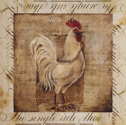 Framed Rustic Farmhouse Rooster I - special Print