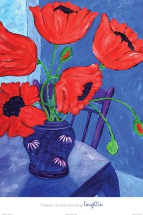 Framed Poppies in Blue Room Print