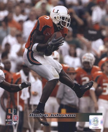 Framed Andre Johnson University of Miami Action Print