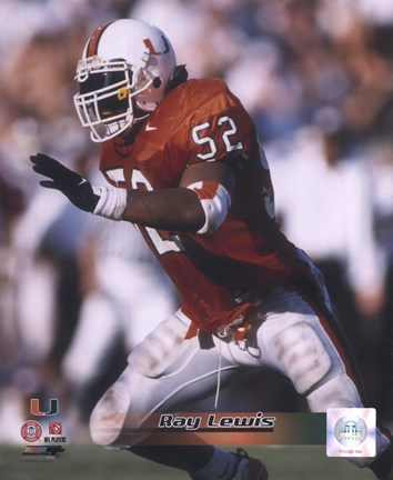 Framed Ray Lewis University of Miami Action Print